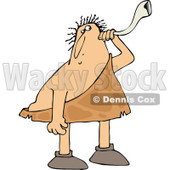 Clipart of a Chubby Deaf Caveman Using an Ear Horn - Royalty Free Vector Illustration © djart #1296367