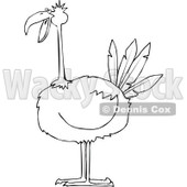 Clipart of a Black and White Big Bird - Royalty Free Vector Illustration © Dennis Cox #1297784