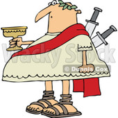 Clipart of a Chubby Julius Caesar Holding a Goblet, with Knives Stabbed in His Back - Royalty Free Vector Illustration © djart #1297785
