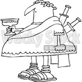 Clipart of a Black and White Chubby Julius Caesar Holding a Goblet, with Knives Stabbed in His Back - Royalty Free Vector Illustration © djart #1297786