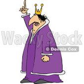 Clipart of a Chubby Scraggly King in a Purple Robe, Holding up a Finger and Talking - Royalty Free Vector Illustration © djart #1297794