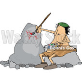 Clipart of a Chubby Caveman Artist Sitting on a Rock and Painting - Royalty Free Vector Illustration © djart #1299481