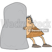 Clipart of a Chubby Caveman Pushing a Monolith - Royalty Free Vector Illustration © djart #1299482