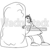 Lineart Clipart of a Black and White Chubby Caveman Pushing a Monolith - Royalty Free Outline Vector Illustration © djart #1299483