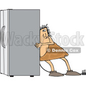 Clipart of a Chubby Caveman Using the Wall Behind Him to Push a Refrigerator out - Royalty Free Vector Illustration © djart #1299484