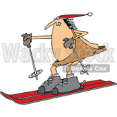 Clipart of a Chubby Caveman Wearing a Santa Hat and Skiing - Royalty Free Vector Illustration © djart #1299486