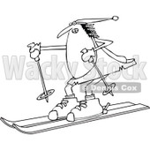 Lineart Clipart of a Black and White Chubby Caveman Wearing a Santa Hat and Skiing - Royalty Free Outline Vector Illustration © Dennis Cox #1299487