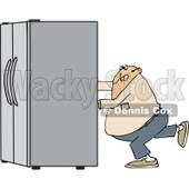 Clipart of a Chubby White Man Using the Wall Behind Him to Push a Refrigerator out - Royalty Free Vector Illustration © djart #1299490