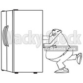 Lineart Clipart of a Black and White Chubby Man Using the Wall Behind Him to Push a Refrigerator out - Royalty Free Outline Vector Illustration © djart #1299491