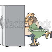 Clipart of a Chubby White Couple Using the Wall Behind Them to Push a Refrigerator out - Royalty Free Vector Illustration © djart #1299493