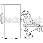 Lineart Clipart of a Black and White Chubby Couple Using the Wall Behind Them to Push a Refrigerator out - Royalty Free Outline Vector Illustration © djart #1299494