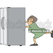 Clipart of a White Woman Using the Wall Behind Her to Push a Refrigerator out - Royalty Free Vector Illustration © djart #1299495