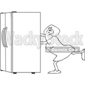 Lineart Clipart of a Black and White Woman Using the Wall Behind Her to Push a Refrigerator out - Royalty Free Outline Vector Illustration © djart #1299496