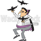 Clipart of a Cartoon Vampire Juggling Bats - Royalty Free Vector Illustration © djart #1300262