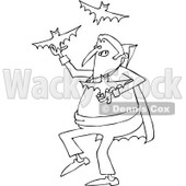 Clipart of a Cartoon Black and White Vampire Juggling Bats - Royalty Free Vector Illustration © djart #1300263