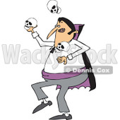 Clipart of a Cartoon Vampire Juggling Skulls - Royalty Free Vector Illustration © djart #1300264
