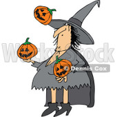 Clipart of a Cartoon Witch Juggling Halloween Jackolantern Pumpkins - Royalty Free Vector Illustration © djart #1300266
