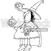 Clipart of a Cartoon Black and White Witch Juggling Halloween Jackolantern Pumpkins - Royalty Free Vector Illustration © djart #1300267
