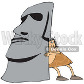 Clipart of a Chubby Caveman Pushing up a Monolith - Royalty Free Vector Illustration © djart #1300268
