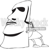 Clipart of a Black and White Chubby Caveman Pushing up a Monolith - Royalty Free Outline Vector Illustration © djart #1300269