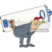 Clipart of a Chubby White Worker Man Carrying a Gas Water Heater - Royalty Free Vector Illustration © djart #1300325