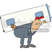 Clipart of a Chubby White Worker Man Carrying an Electric Water Heater - Royalty Free Vector Illustration © djart #1300327