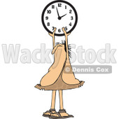 Clipart of a Chubby Caveman Holding up a Wall Clock - Royalty Free Vector Illustration © djart #1300328