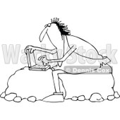 Outline Clipart of a Black and White Chubby Caveman Sitting on Boulders and Using a Laptop Computer - Royalty Free Lineart Vector Illustration © Dennis Cox #1300331