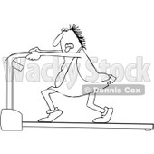 Outline Clipart of a Black and White Chubby Caveman Panting and Running on a Treadmill - Royalty Free Lineart Vector Illustration © djart #1300333