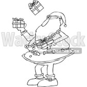 Outline Clipart of a Black and White Christmas Santa Claus Juggling Wrapped Gifts - Royalty Free Lineart Vector Illustration © djart #1300335