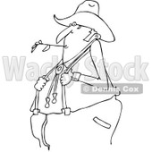 Outline Clipart of a Black and White Cartoon Chubby Male Farmer Holding His Suspenders and Chewing on Straw - Royalty Free Lineart Vector Illustration © djart #1300336