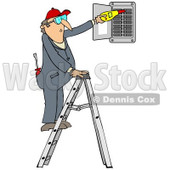 Clipart of a Cartoon Caucasian Electrician Man Standing on a Ladder and Checking a Breaker Panel Box - Royalty Free Illustration © djart #1300340