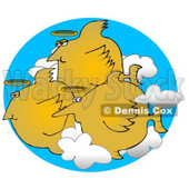 Group of Angel Fish With Halos Swimming in the Clouds Clipart Graphic Illustration © Dennis Cox #13019