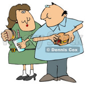 Chubby Couple Eating Cheeseburgers Together Clipart Illustration © djart #13021