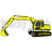 Bright Yellow Trackhoe Excavator Clipart Illustration © Dennis Cox #13024
