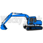 Blue Trackhoe Excavator Clipart Illustration © Dennis Cox #13026