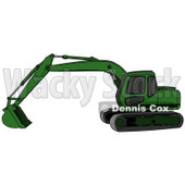 Green Trackhoe Excavator Clipart Illustration © Dennis Cox #13027