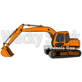 Orange Trackhoe Excavator Clipart Illustration © Dennis Cox #13029