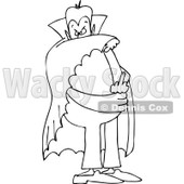 Lineart Clipart of a Cartoon Black and White Chubby Dracula Vampire Flipping the Bird - Royalty Free Outline Vector Illustration © Dennis Cox #1303066