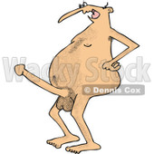 Clipart of a Cartoon Hairy Nude White Man Flaunting a Boner - Royalty Free Vector Illustration © djart #1303070