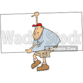 Clipart of a Cartoon Chubby White Man Carrying a Big Board - Royalty Free Vector Illustration © djart #1303073