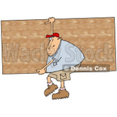 Clipart of a Cartoon Chubby White Man Carrying a Big Wood Board - Royalty Free Illustration © djart #1303074