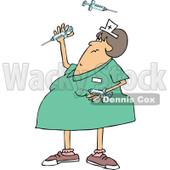 Clipart of a Cartoon Chubby White Female Nurse Juggling Vaccine Syringes - Royalty Free Vector Illustration © djart #1303075