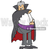 Clipart of a Cartoon Chubby Dracula Vampire Flipping the Bird - Royalty Free Vector Illustration © Dennis Cox #1303076