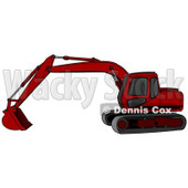 Red Trackhoe Excavator Clipart Illustration © Dennis Cox #13031