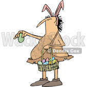 Clipart of a Cartoon Hairy Caveman Wearing Bunny Ears, Holding a Basket and an Easter Egg - Royalty Free Vector Illustration © djart #1303282