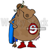 Super Cow With a Blue Cape and Udders Clipart Illustration © djart #13033