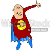 Super Hero Man in a Red Uniform and Blue Cape Clipart Illustration © djart #13034