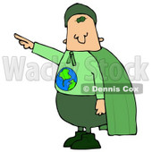 Environmentalist Man Wearing a Green Cape and Uniform With the Globe on His Shirt Clipart Illustration © djart #13035