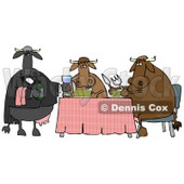 Male Cow Waiting Tables and Serving Wine to a Dining Cow Couple Clipart Illustration © Dennis Cox #13037